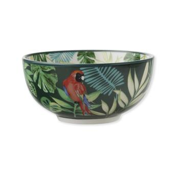 TROPICAL NIGHTS Coupelle Porcelaine Décor Feuilles tropicales D12.5  - Les 4