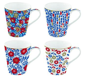 Coffee Mania Flower Power Blue Mug Conique Porcelaine Bleu - les 4